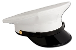 OFFICER'S WHITE LEATHERETTE ROUND STYLE TOP CAP w/ and Braid/Band Options